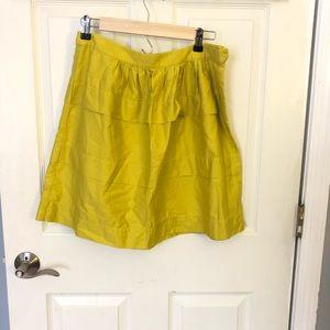 J.crew lime ruffle side zip skirt 6